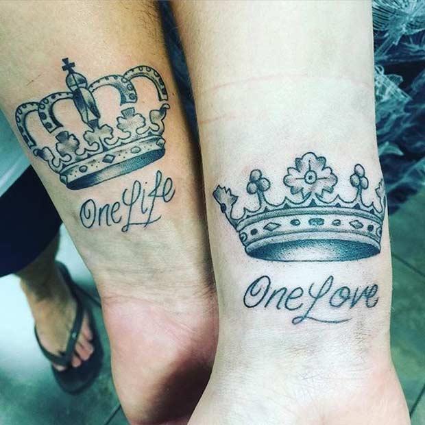 Tatouages de couronne de roi et de reine