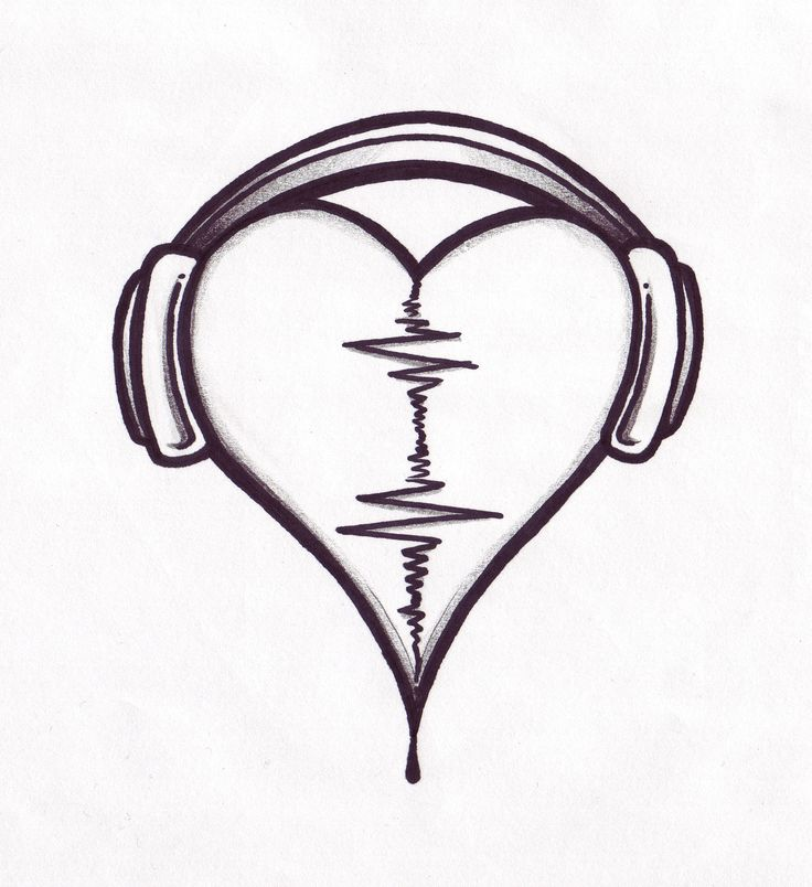 Conception de tatouage de coeur audio