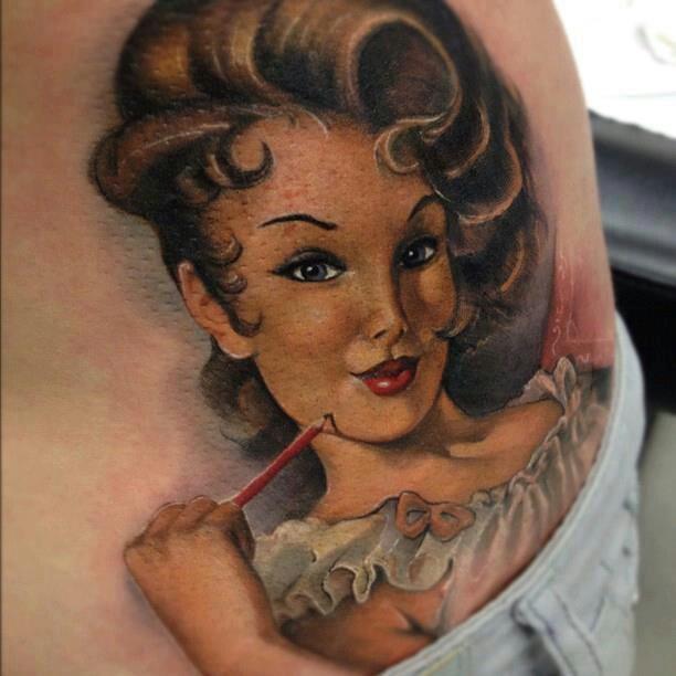 tatuaje de dama pintada