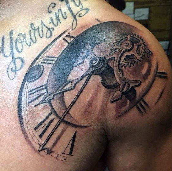 grandfather clock face tattoo. via pinterestcom grandfather clock face tattoo