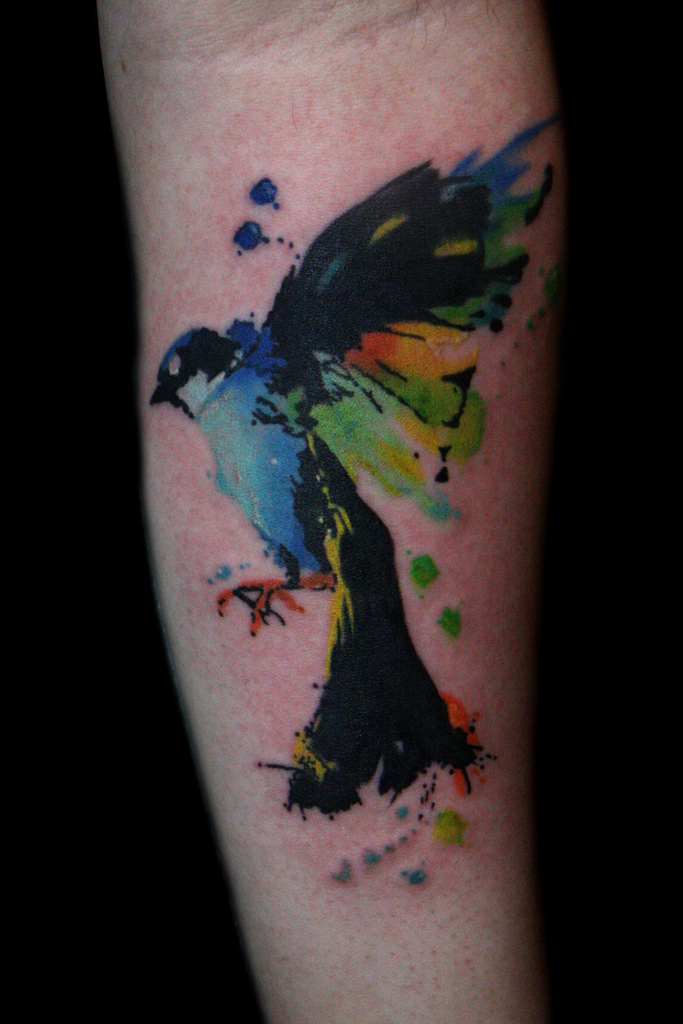 Aquarel vogel tattoo ontwerpen