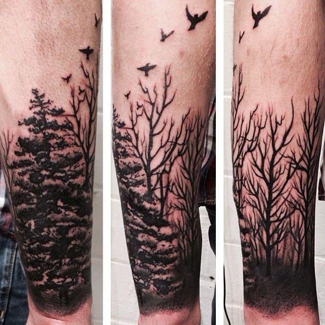 Tatuaje De Árbol En El Antebrazo